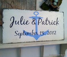 Custom NAUTICAL WEDDING SIGN w/ Names and Date / Wedding Location - Handpainted / No Vinyl - Shabby Cottage Vintage Style 24 x 12