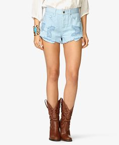 Spiked Distressed Denim Shorts #Forever21 #Spiked #Shorts