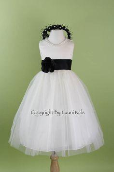 Flower Girl Dress - WHITE Tulle Dress with BLACK Sash - Bridesmaid, Communion, Easter, Wedding - Baby, Toddler, Child (RBPW)