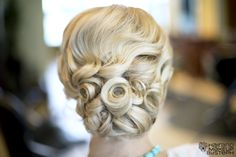 wedding updo  blog.hairandmakeupbysteph.com    Waves & tightly pinned curls.. so nice for a hot day!
