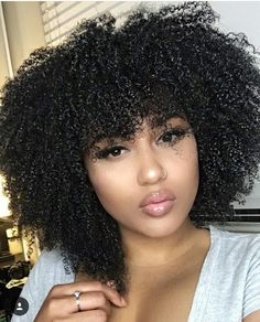 Glueless Lace Front Human Hair Wigs Density Afro Kinky Curly Peruvian Remy Hair Full Lace Wigs with Baby Hair Natural Hair Bangs, Curly Hair With Bangs, Natural Hair Tips, Natural Hair Journey, Big Hair, Curly Hair Styles, 4a Natural Hair Styles, Natural Baby, African Hairstyles