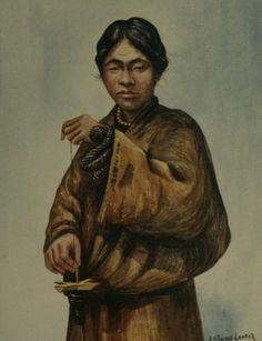 """Arnold Henry Savage Landor """"Femme tibétaine filant de la laine traditionnellement vers 1905"""""""