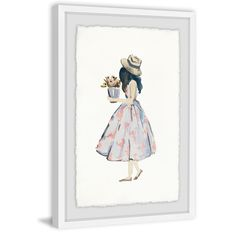'Pink Poodle Dress' Framed Painting Print