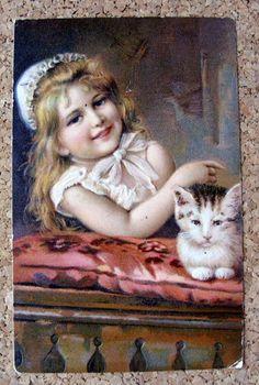 Prägedruck AK KIND 1905 Mädchen mit Katze Kätzchen (50965 | eBay
