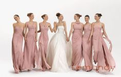 Pink elegant chiffon bridesmaid dresses 2013 style halter (the fourth on the left). $158.00, via Etsy.