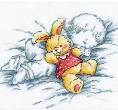 Baby With Rabbit - Cross Stitch Kit