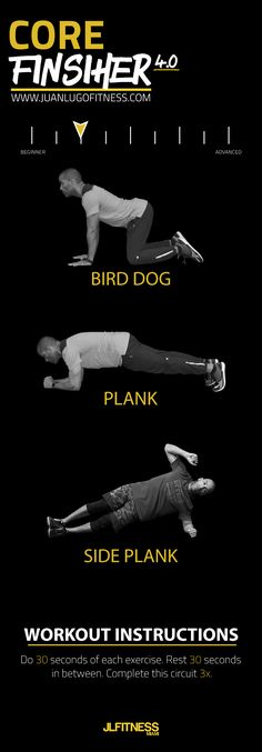Here's a beginner core workout with a plank, side plank and bird dog. You will complete the circuit 3x and rest 30 seconds in between.