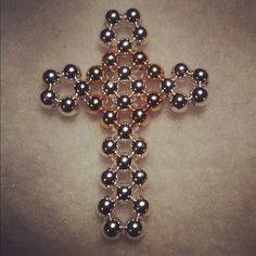 beaded silver & brass cross