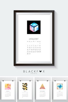 2017 Watercolors Printable Calendar. 30% OFF for limited time! Printable design. Printable calendar. If you, like me, love geometry, watercolors and minimal design you will love this 2017 Printable Calendar. This one of a kind, abstract and minimal calendar and design piece, will transform your house into a modern and unique home. Print it the size you want, frame it, include it on your personal planner, just bind it and hang it on the wall, whatever fits you. Enjoy!