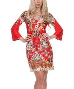 Love this Red & Gold Abstract Paisley V-Neck Dress by White Mark on #zulily! #zulilyfinds