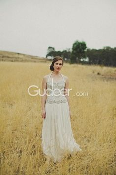 Sparkly A Line Halter Beaded Embroidered Chiffon Fall Wedding Dress
