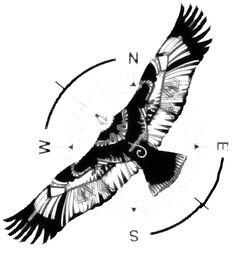 "Can Divit : ""Erkenci Kus""/Early Bird - There's a wonderful Turkish TV show called ""Erkenci Kus""/Earl bird.tatoo Can divit - Native Tattoos, Eagle Tattoos, Black Ink Tattoos, Star Tattoos, Body Art Tattoos, Tribal Sleeve Tattoos, Raven Tattoo, Hamsa Tattoo, Compass Tattoo"