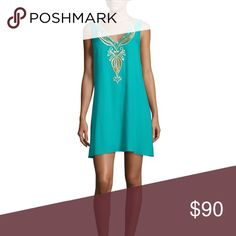 NWT Lilly Pulitzer Owen dress Lilly Pulitzer Owen embroidered trapeze dress. Embellished with metallic embroidery. V-neck front and back, sleeveless, lined, pullover style. About 35 in from shoulder to hem. Color:Agate green Lilly Pulitzer Dresses