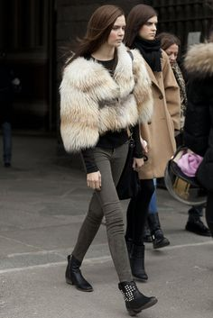 MFW: A furry jacket livened up skinnies and booties