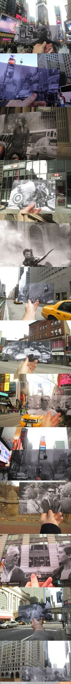 Overlapping pictures of where Avengers was shot in NY. This is phenomenal.