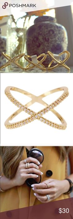 Gold Pave X Ring Sizes: 5, 6, 7, 8   Material content: 18k gold plated metals, glass crystal, nickel and lead free T&J Designs Jewelry Rings