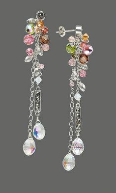 Drop and Bead Cluster Earrings with Swarovski Beads, Metal Link and Chain