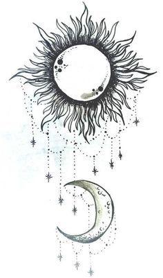 simple sun and moon drawing Moon Sun Tattoo, Sun Tattoos, Back Tattoos, Trendy Tattoos, Flower Tattoos, Body Art Tattoos, Sun Moon, Tatoos, Daffodil Tattoo