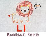 """""""Lion Embroidery - PDF Accessory Pattern"""". Available at www.pinkcastlefabrics.com."""