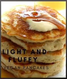 A simple and delicious recipe for light and fluffy vegan pancakes. These are so easy to make and are the perfect weekend breakfast Best Vegan Recipes, Vegetarian Recipes, Healthy Recipes, Breakfast Ideas, Breakfast Recipes, Vegan Pancakes, Diet Ideas, Plant Based Diet, Healthy Foods