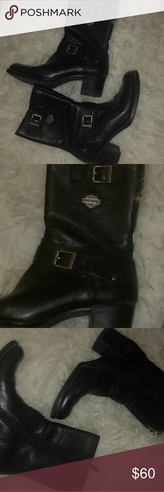 Sz 8 womens Harley Davidson leather biker boots Great condition. Maybe worn once.size 8 from Harley Davidson. Harley-Davidson Shoes Ankle Boots & Booties