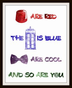 Doctor Who Inspired Rhyme Nursery Art - Choose Background Color 8x10 Inch Poster Print - Geek-a-bye Baby - Sci-Fi Geek, Fez, Tardis, Bow Tie. $12.00, via Etsy.