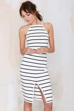 The Fifth Don't Panic Striped Midi Dress