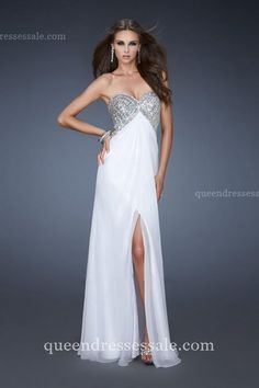 Sequin Bodice White Long La Femme 18577 Prom Dreeses with Center Slit @ queendressessale.com