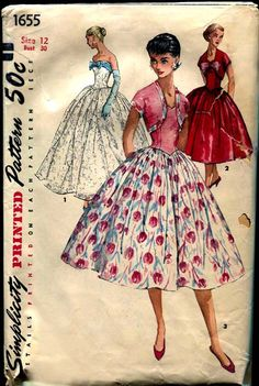 Vintage Simplicity Pattern 1655 Strapless Formal Evening Gown and Short Dressy Day Dress 1950
