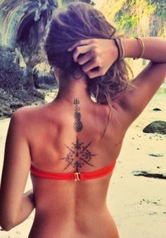 Compass Tattoo Ideas - Upper Back Spine Tat for Women - MyBodiArt.com