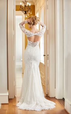 Mixed-fabrication wedding dress with geometric lace | Fitted, detachable lace long sleeves | Widely squared-off neckline | Textured beadwork | Sheer side cutouts | Open keyhole back and crystal buttons | K&B Bridals Luxe Wedding, Glamorous Wedding, Bridal Gowns, Wedding Gowns, Designer Wedding Dresses, Silk Satin, Bridal Collection, Fit And Flare, Ball Gowns
