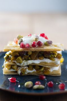 The Kitchn's Honeyed Phyllo Stacks with Pistachios, Spiced Fruit, and Yogurt (with Vegan Option) | siftandwhisk.com