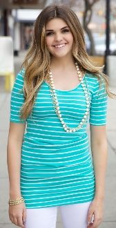 Elbow Length Striped Top now amiable in black & white also!! $24.99!!