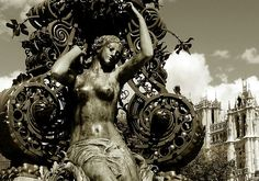 """""""Louis Dewailly, mayor of Amiens, decide in 1888 to construct a clock in the neighbourhood of the railway station. The iron column was built in rococo style. A few years later, sculptor Albert Roze added a statue in bronze of a women (the godess of spring)."""
