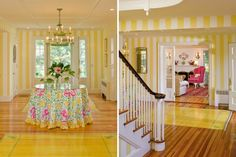 "Bold beach cabana stripes in this Lilly Pulitzer inspired beach ""cottage"" foyer. So pretty!"