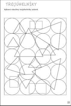 Trojúhelníky - Vybarvi všechny trojúhelníky zeleně. Aktivity pro nácvik matematiky, pozornosti a orientace, čtení a grafomotoriky žáků se specifickými poruchami učení v 1. až 3. ročníku ZŠ