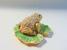 Frog Trinket Pot Crystal Encrusted Green Enamel Novelty Accessories Keepsakes