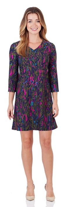 Lexi Shift Dress in Feathered Abstract Navy - FINAL SALE