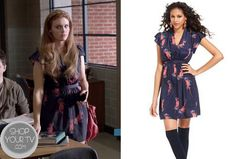 Lydia Martin (Holland Roden) wears this purple print dress in this episode of Teen Wolf. It is theBar III Dress, Short-Sleeve V-Neck Floral-Print Bar III Dress, Short-Sleeve V-Neck Floral-Print. Buy it HERE,