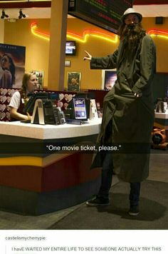 Honestly if I was the ticket lady I'd let the guy buy just one ticket XD