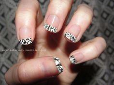 flowery nail tip nail art using Sally Hansen's Salon Effects