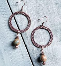 "Aqua Terra Drop Earrings Copper and Aqua Terra Drop Dangle Earrings are the perfect complement to your boho style!  Entire length is approx. 3""   Looks great with the matching necklace!"