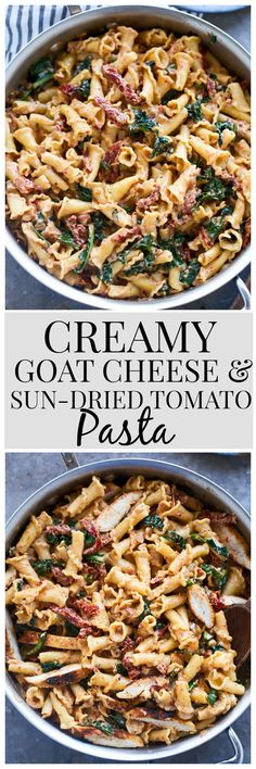 To make without chicken. Creamy Goat Cheese and Sun-Dried Tomato Pasta - The best EASY pasta for weeknights!