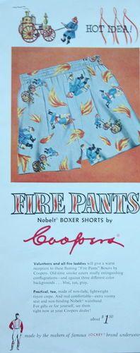 1940s ad Mens Underwear JOCKEY BOXERS FIREMEN