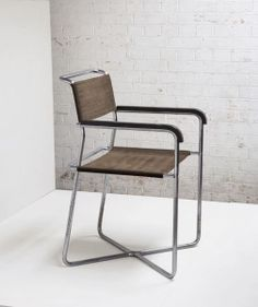Marcel Breuer; #B11 Chromed Tubular Steel and Lacquered Wood Armchair for Thonet, c1932.