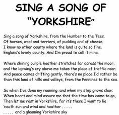 Sing a song of Yorkshire Yorkshire England, Yorkshire Dales, North Yorkshire, Yorkshire Sayings, Huddersfield Yorkshire, Dawn Pictures, Wedding Poems, Words To Use, Middlesbrough