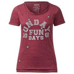 Dekoriertes Frontprint-Shirt    Unifarbenes T-Shirt mit gedoppeltem Rundhals & Saum und perlenverziertem Wording-Frontprint von CECIL. Das weiche Flammgarn-Shirt mit kleinen Umschlägen an den kurzen Ärmeln macht mit seinem eindeutigen Wordingprint vorn sofort Lust auf Sonne, Fun & Freizeit! In seiner leichten Baumwollqualität in tollen, easy kombinierbaren Farben liegt es weich und angenehm auf...