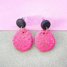 "Image of ""Chloe"" Oval drop polymer clay earrings hot pink"