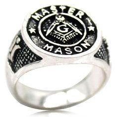 Size 7-15 Antique Gold Tone Masonic Mason Ring VIRTUS JUNXIT MORS NON SEPARABIT