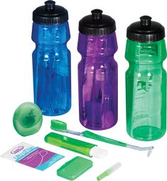 #Orthodontic Water Bottle Kit - BPA Free! →One rubber handle dual-headed brush →One v-trim travel brush →One interproximal brush →One package of #floss threaders (10 per pack) →One 15 yard spool of mint-flavored #dental floss →One mint wax packet
